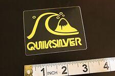 QUICKSILVER Neon Yellow Surfboard Vintage Surfing Decal STICKER