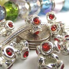 Red Crystal Screw On Threaded Lock Stop Bead for Silver European Charm Bracelet