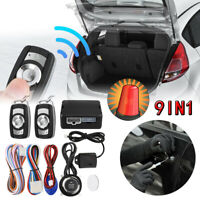 9Pcs Engine Start Push Button Remote Starter Keyless Entry Car SUV Alarm System