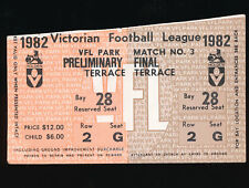 1982 Preliminary Final Unused Ticket Carlton vs Hawthorn  Carlton Blues won