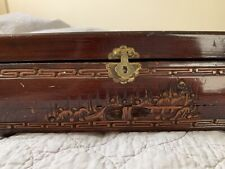 antique oriental asian carved wooden jewelry box with mirror and hidden drawer