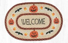 HALLOWEEN WELCOME 100% Natural Braided Jute Oval Rug 20x30 by Earth Rugs,pumpkin