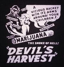PATCH - The Devil's Harvest - canvas screen print - marijuana exploition pot