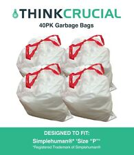 """Think Crucial 40PK Durable Garbage Bags Fit Simplehuman® 'size """"P""""', 60L / 13-16"""