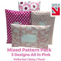 PINK MIX PACK Post Postal Plastic Poly Mailing Bags Printed - Polka Dot Floral