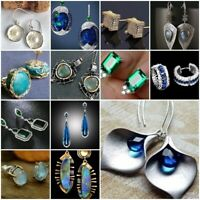 Natural Sapphire Emerald Opal 925 Silver Ear Studs Dangle Drop Earrings Jewelry