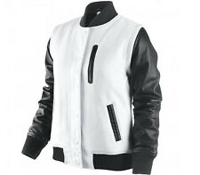 NIke Destroyer NSW Leather Wool Jacket Summit  White-Black MSP $450 XL