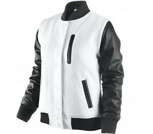 NIke Destroyer NSW Leather Wool Jacket Summit  White-Black MSP $450 M
