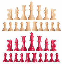 Staunton Single Weight Chess Pieces - Set of 34 Natural & Red - 4 Queens