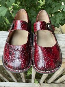 ALEGRIA PAL-544 WOMENS RED / MAROON LEATHER MARY JANE STRAP SHOES SIZE 38 8US