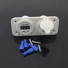 White Waterproof Motorcycle Car Boat Phone Dual USB Socket Charger Voltage Gauge
