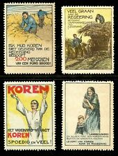 Netherlands - WWI Propaganda Poster Stamps - Willy Sluiter Designs - 4 Different