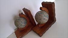 2 Buchstützen Weltkugel Holz Vintage Bookend Buchstütze 60er 70er antik