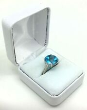 Genuine Checkerboard Blue Topaz & Diamonds 14k White Gold Ring