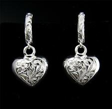 SILVER 925 HAWAIIAN PLUMERIA SCROLL HOOP DANGLE THICK SOLID HEART EARRINGS HEAVY