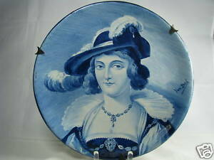 DUTCH CERAMIC PORCELAIN PLATE PORTRAIT DELFT PLATE Holland Netherlands 1760-1820