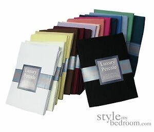 QUALITY PERCALE FITTED VALANCE Sheets in 23 Colours & 4 Sizes. 180 Thread Count