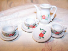 8 Piece Miniature Dollhouse Child Doll Tea Set Fruit Pattern Cups Saucers Teapot