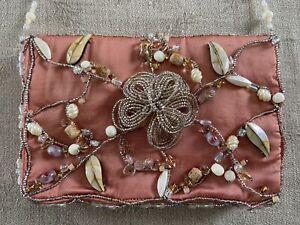 Mary Frances Silk Handbag - Shell and Bead Details - PRETTY!
