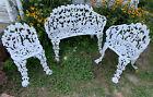 Vintage Cast Iron Victorian Grape & Vine Motif Garden Set Bench 2 Chairs