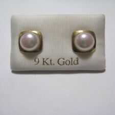 9ct Gold White Freshwater Pearl in Square Stud Earrings