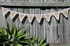 Bunting Banner Hessian Lace Edge Triangle Handmade Burlap Vintage Party Wedding