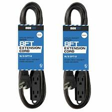 2 Pack of 8 Ft Extension Cords with 3 Electrical Power Outlets - 16/3 Durable Bl
