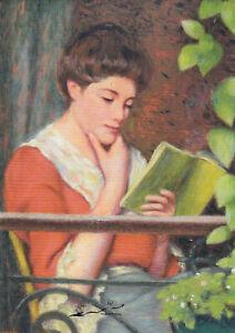 Postkarte: Zandomeneghi - Lesende Frau auf dem Balkon