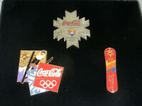 Coca-Cola 2002 Salt Lake Olympics Pin Set of 3 Silvertone Medal Snowboard Ski