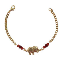 Baby Elephant Red Beads Bracelet Cuban Style Bracelet Chain for Good Luck- 5.5''