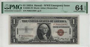 1935 A $1 SILVER CERTIFICATE NOTE HAWAII OVERPRINT FR.2300 PMG CHOICE UNC 64 EPQ
