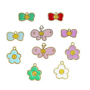 20PCS Multi-Colors Enamel Mixed Flower Butterfly Charms Pendant Jewelry Making