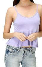 Peplum Cropped Tank Top with Adjustable Spaghetti Strap Cute Rayon Spandex S M L