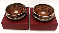 Pair Of ROBERTS & DORE Hallmarked STERLING SILVER + Wooden COASTER 2005 - BB9