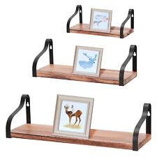 Set of 3 Floating Wall Shelves Bookshelf Wooden Wall Mounted Display Decor Shelf