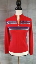 Tommie Hilfiger womens large RED sweater zipper neck vintage