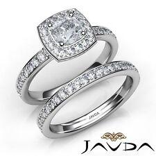 1.66ct Eternity Pave Set Bridal Cushion Diamond Engagement Ring GIA F-VS1 W Gold