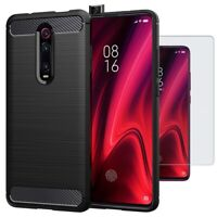 For Xiaomi Mi 9T Pro Case Carbon Fibre Cover & Glass Screen Protector