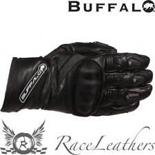 BUFFALO BLACK FRESCO FULL LEATHER ARMOURED KNUCKLE MOTORCYCLE MOTORBIKE GLOVES