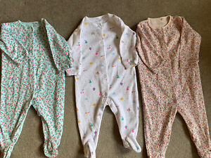 Next Baby Girl Sleepsuits Age 6-9 Months Pk Of 3