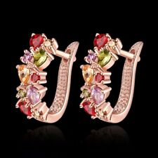Fashion GOLD Filled Multi Color Cubic Zirconia Square Stud Earring Free Postage,