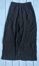 Oska Black Nylon Wool Pleat Stripe Pocket Pull On Wide Leg Trousers 1 10 B67
