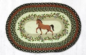 "Horse Oval Hand Printed Braided Floor Earth Rug 20""x30"" - OP-427"