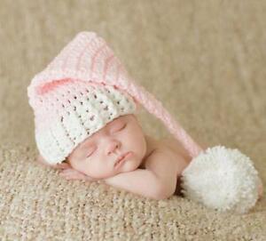 Newborn Baby Cute Girls Pink Hat Crochet  Knit  Photo Photography Prop