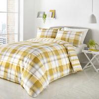 Ochre Balmoral Tartan Check Stripe Mustard Reversible Duvet Quilt Covers Sets