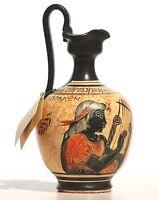 Greek black-figure Ceramic Vase Pot Pottery Painting Greek God Apollo 6.7in