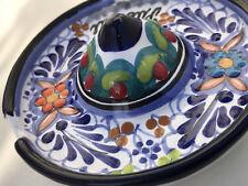 "Talavera Ceramic Sombrero Ashtray 4 1/2"" Mexico Pottery Decor Orange Flower"