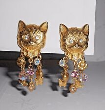 Kirks Folly Alice in Wonderland Cheshire Cat & Dangling Charms Clip On Earrings