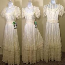 Vintage Retro NWT DEADSTOCK 1970s lace ivory plantation wedding tiered dress