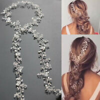 Pearl Wedding Gown Hair Vine Crystal Bridal Dress Accessories Diamante Headpiece